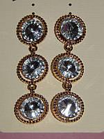 Серьги длинные, три камня, золотистый металл, застежка гвоздик 000491