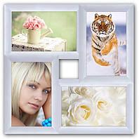 Мультирамка из дерева на 4 фото Классика, белая.