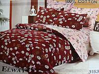 Сатиновое постельное белье полуторка ELWAY Орнамент в ромашку