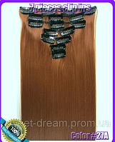 Комплект накладных прядей из 7-ми штук, наращивание волос, накладные пряди, прямые, длина - 55 см, цвет - №27А
