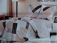 Сатиновое постельное белье семейное ELWAY Абстрактные квадраты