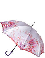 Зонт трость белый с цветами T-06-0290