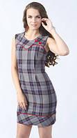 Стильное молодежное мини платье в клетку серого цвета с коротким рукавом. Модель 449 Mirabelle