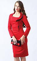 Женское трикотажное платье красного цвета с длинным рукавом, украшено воланом. Модель 452 Mirabelle