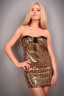 Клубное Черное платье с золотистыми пайетками S2312-1