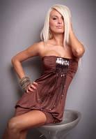 Женское короткое клубное Платье коньячного цвета с декором из пайеток S4098-6