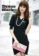 Черное платье делового стиля F19186106