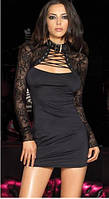 Платье с гипюровыми рукавами и шнуровкой на декольте черного цвета K3283