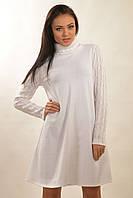 """Женское теплое белое платье """"Аква-Зима"""""""