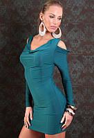 Короткое Синее платье с длинным рукавом и вырезами на плечах L2547-4