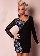 Короткое Черно - белое платье из гипюра и эластана L2399