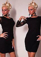 Короткое клубное Черное платье с открытой спиной и гипюровыми вставками L2383