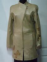 Френч кожаный косуха стойка бежевый длина-80см 46р;ОГ-82;ОБ-84