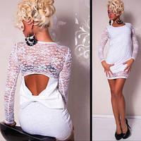 Коротко клубное Белое гипюровое платье - туника с бантом на спине L2240-1