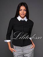 Блуза с брошью черный