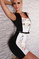Черно - белое платье с золотистым узором под пояс L2928-1
