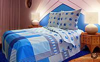 Комплект постельного белья Синева бязь люкс 100% хлопок в бело-синюю клетку