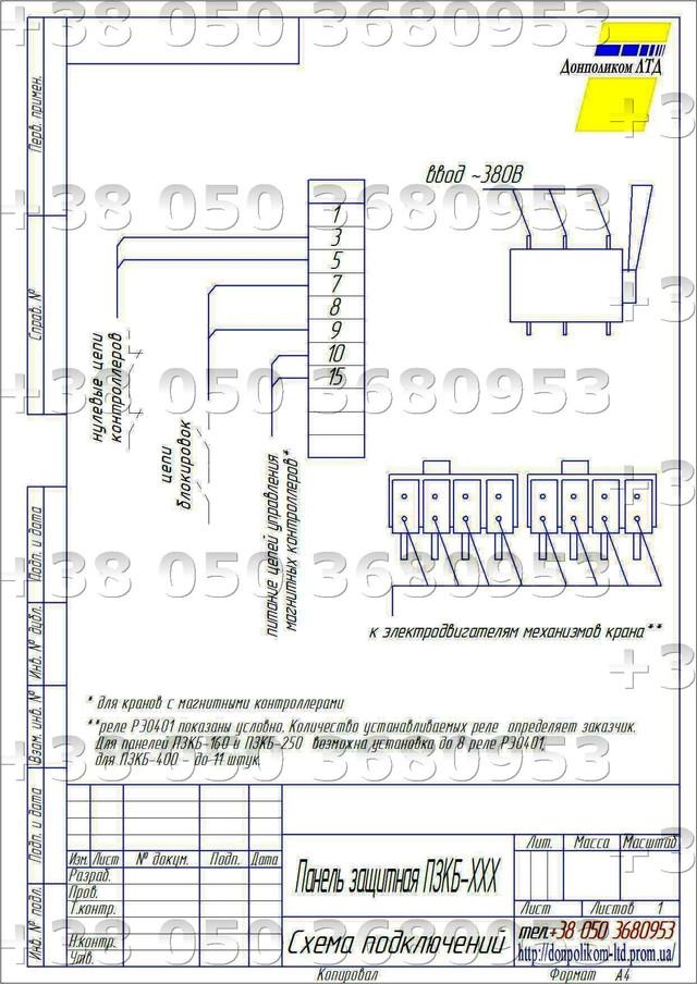 панели ПЗКБ-160 необходимо