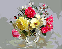 Раскраска по номерам Букет из шиповника и полевых цветов худ Бузин Игорь (VP329) 40х50 см