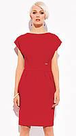 Женское трикотажное платье красного цвета с коротким рукавом. Модель Candice Zaps