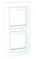 Рамка двухместная вертикальная Белый Schneider Electric Unica Plus (mgu6.004v.18)