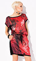 Женское платье-туника красного цвета с карманами. Модель Darla Zaps, коллекция весна-лето 2015