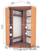 Угловой шкаф-купе в спальню (01/22) 1000х1000х2200