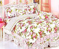 Постельное белье Арль сатин с оборками прованс ТМ WORD OF DREAM розы и розочки