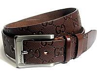 Мужской кожаный ремень GUCCI (коричневый)