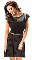 Стильная женская блуза черного цвета с верхом из экокожи. Модель 17030 Enny