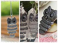 Набор украшений Сова - серьги, кольцо, колье, цвет - серебро