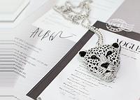 Винтажная подвеска с цепочкой Леопард, цвет - серебро