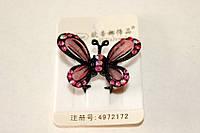 Заколка - краб Бабочка с розовыми камнями
