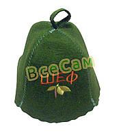 Шапка для бани с надписью «Шеф/(зеленая)