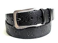 Мужской кожаный ремень GUCCI (черный)
