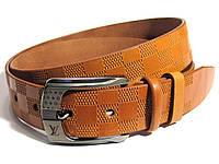 Мужской кожаный ремень LOUIS VUITTON LV (рыжий)