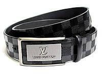 Мужской кожаный ремень LOUIS VUITTON LV (черный) полуавтомат
