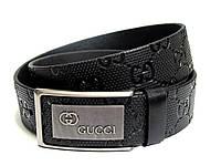 Мужской кожаный ремень GUCCI (черный) полуавтомат
