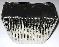 Горшок керамический серебристый