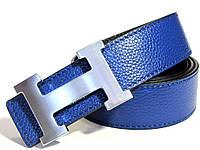 Кожаный ремень HERMES (синий) двухсторонний