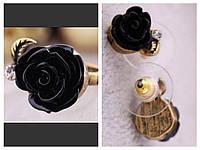 Набор бижутерии Розочки - кольцо и серьги, цвет - черный
