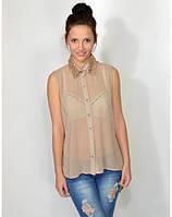 Женская шифоновая блуза ,блуза женская бежевая