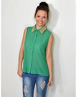Блуза женская шифоновая зеленого цвета