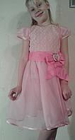 Нарядное платье на выпускной в садик для девочки, с бантом розовое, 122-126 см