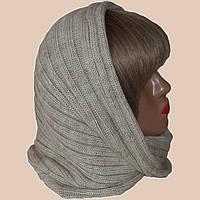 Вязаный шарф - труба бежевого цвета льна