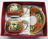 Фарфоровый чайный сервиз Красный 2 чашки, 2 блюдца