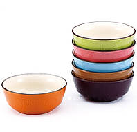 Набор мисок керамических (салатники, пиалы) Wellberg WB-43312 7пр. 580 мл. (6 мисок, 1 подставка)