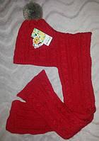 Вязанная тёплая шапка-шарф 2 в 1 для девочки 3-6 лет