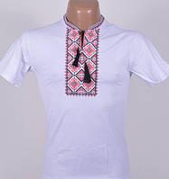 Футболка вышиванка мужская белая с красно-черным