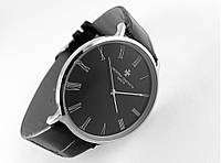 Мужские часы Vacheron Constantin кварцевые, цвет корпуса silver, черный циферблат